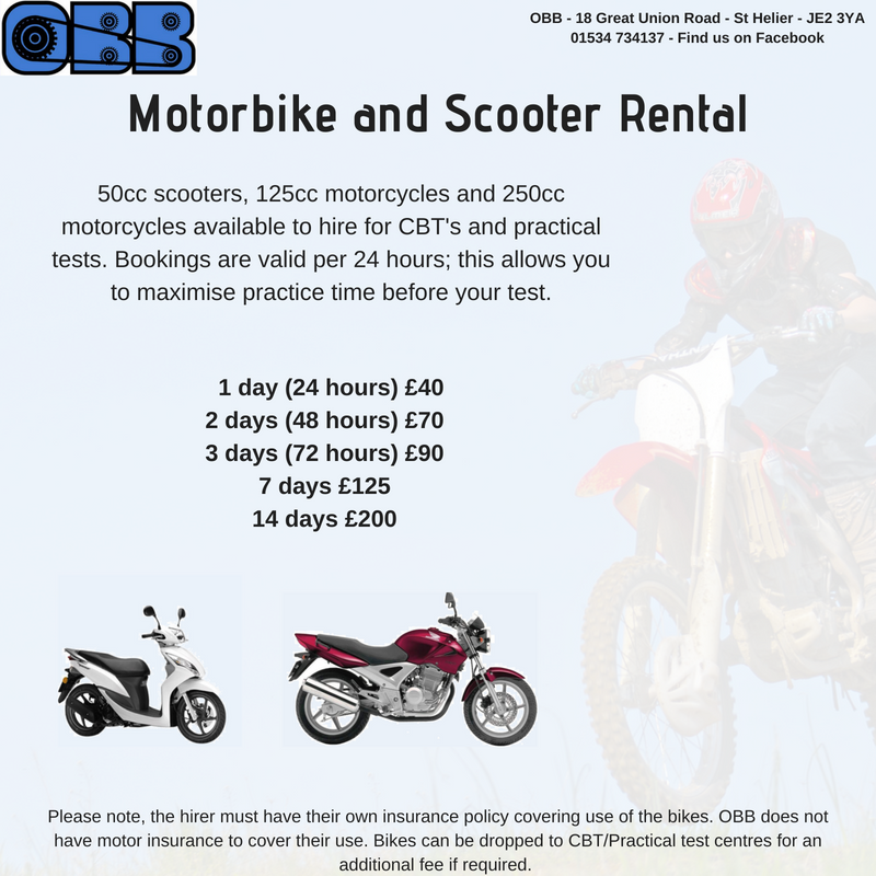 Jersey Bike Hire for CBT & Practical A1 & A Bike Test